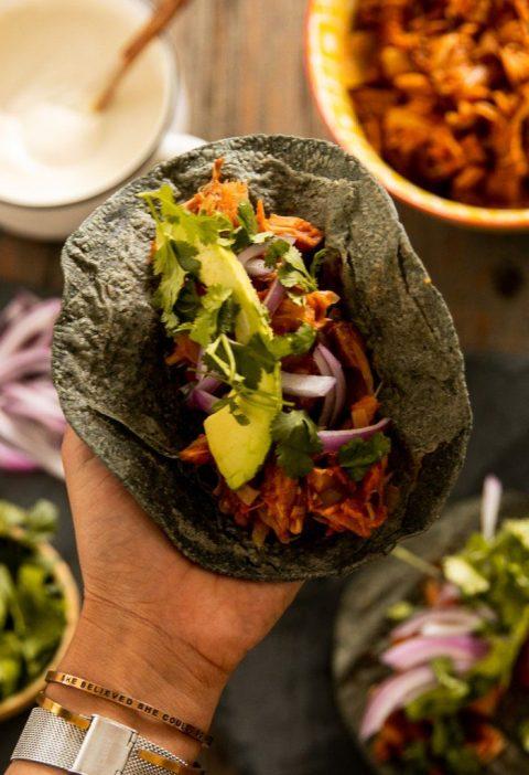"""""""Tacos veganos de yaca """""""